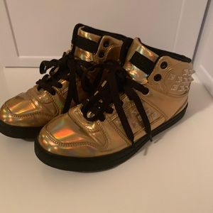 Gold Holographic Sneakers - comfy and cute!